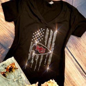 New Kansas City Chiefs Rhinestone V-Neck T-shirt